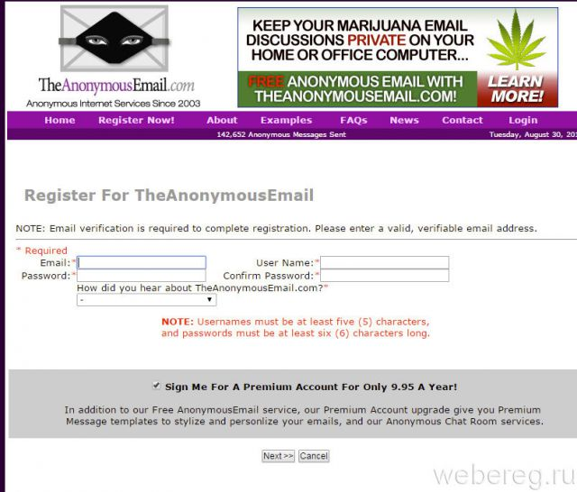 Register For TheAnonymousEmail