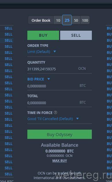 панель для покупки и продажи