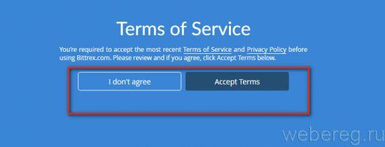 запрос «Terms of Service»