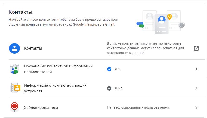 Меню Контакты